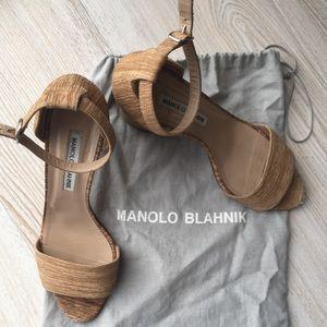Manolo Blahnik Block Heel Sandal Size 8